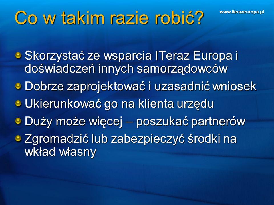 www.iterazeuropa.pl Co w takim razie robić? Skorzystać ze wsparcia ITeraz Europa i doświadczeń innych samorządowców Dobrze zaprojektować i uzasadnić w