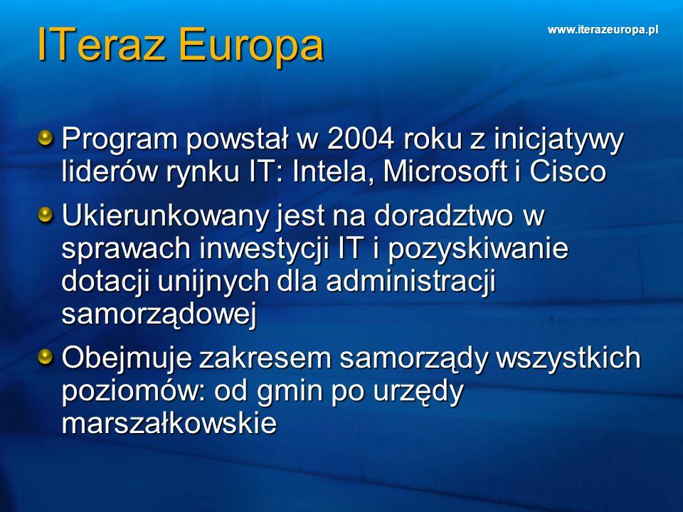 www.iterazeuropa.pl Program powstał w 2004 roku z inicjatywy liderów rynku IT: Intela, Microsoft i Cisco Ukierunkowany jest na doradztwo w sprawach in