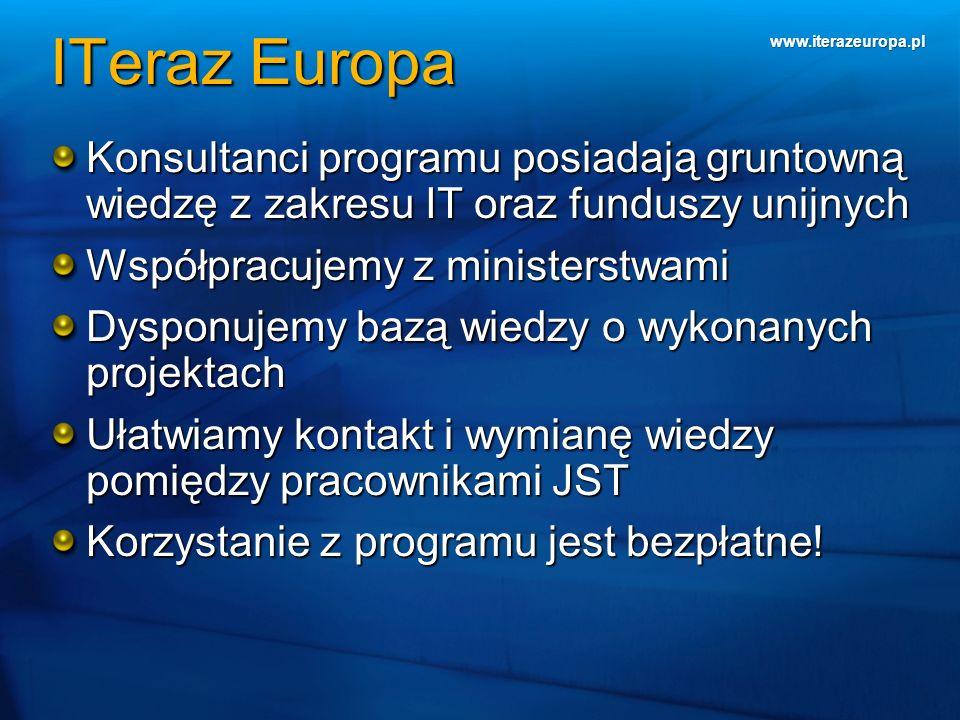 www.iterazeuropa.pl ITeraz Europa Konsultanci programu posiadają gruntowną wiedzę z zakresu IT oraz funduszy unijnych Współpracujemy z ministerstwami
