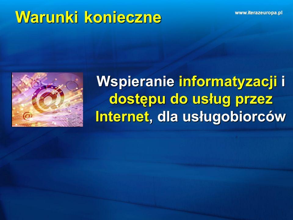 www.iterazeuropa.pl Warunki konieczne Wspieranie informatyzacji i dostępu do usług przez Internet, dla usługobiorców