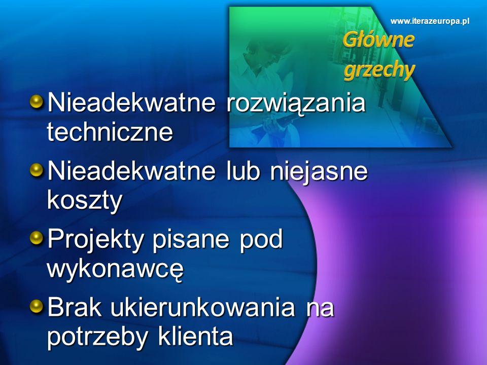 www.iterazeuropa.pl Nieadekwatne rozwiązania techniczne Nieadekwatne lub niejasne koszty Projekty pisane pod wykonawcę Brak ukierunkowania na potrzeby