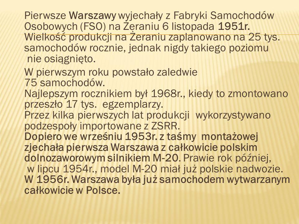 Pierwsze Warszawy wyjechały z Fabryki Samochodów Osobowych (FSO) na Żeraniu 6 listopada 1951r. Wielkość produkcji na Żeraniu zaplanowano na 25 tys. sa