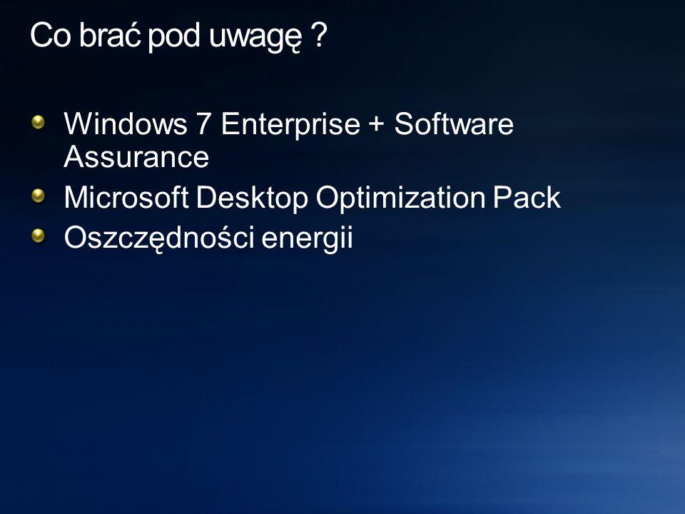 FunkcjonalnośćWartość (PLN) Sposób liczenia Prawo do nowej wersji systemu Jednorazowo/PC BitlockerRocznie/PC ApplockerRocznie/PC Branch CacheRocznie/PC Direct AccessRocznie/PC Licencje VDARocznie/PC Inne – dodatkowe licencje Windows, wsparcie, szkolenia, wielojęzyczne UI Rocznie/PC; Jednorazowo/PC FunkcjonalnośćWartość (PLN) App-V Med.-V AGPM AIS DaRT DEM