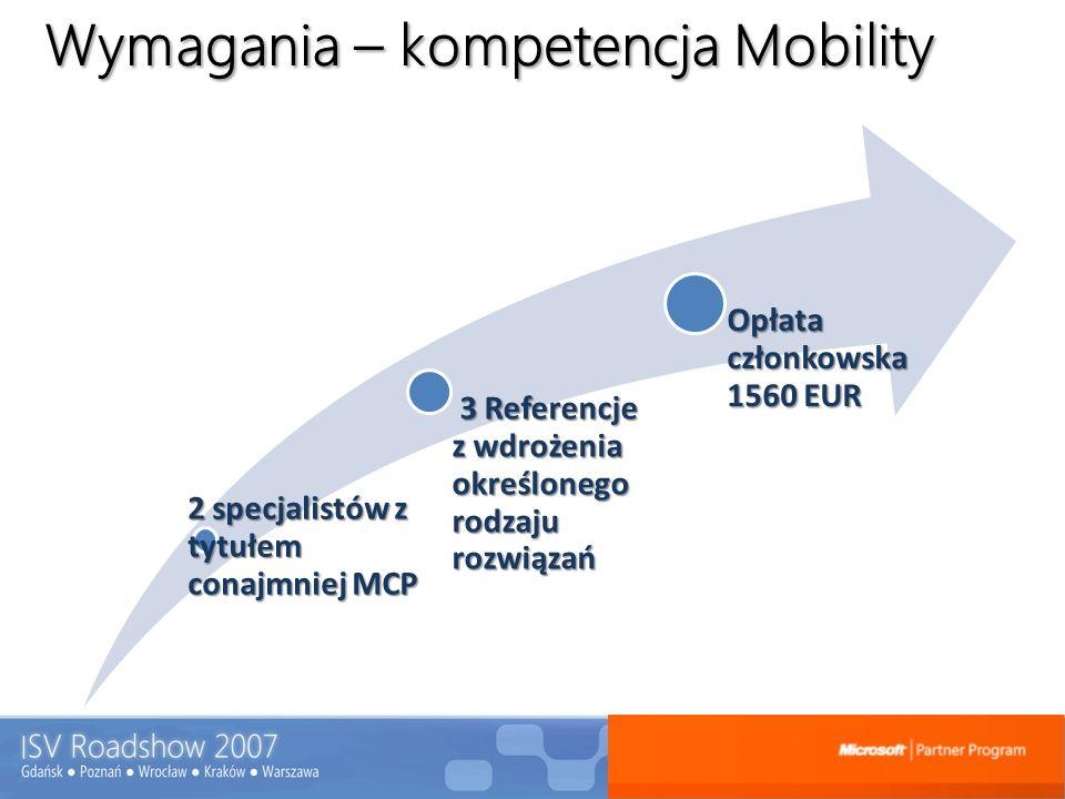 Wymagania – kompetencja Mobility 2 specjalistów z tytułem conajmniej MCP 3 Referencje z wdrożenia określonego rodzaju rozwiązań 3 Referencje z wdrożen