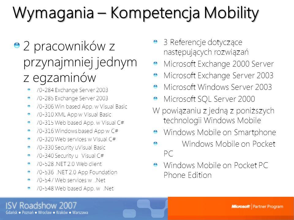 Wymagania – Kompetencja Mobility 2 pracowników z przynajmniej jednym z egzaminów 70-284 Exchange Server 2003 70-285 Exchange Server 2003 70-306 Win ba
