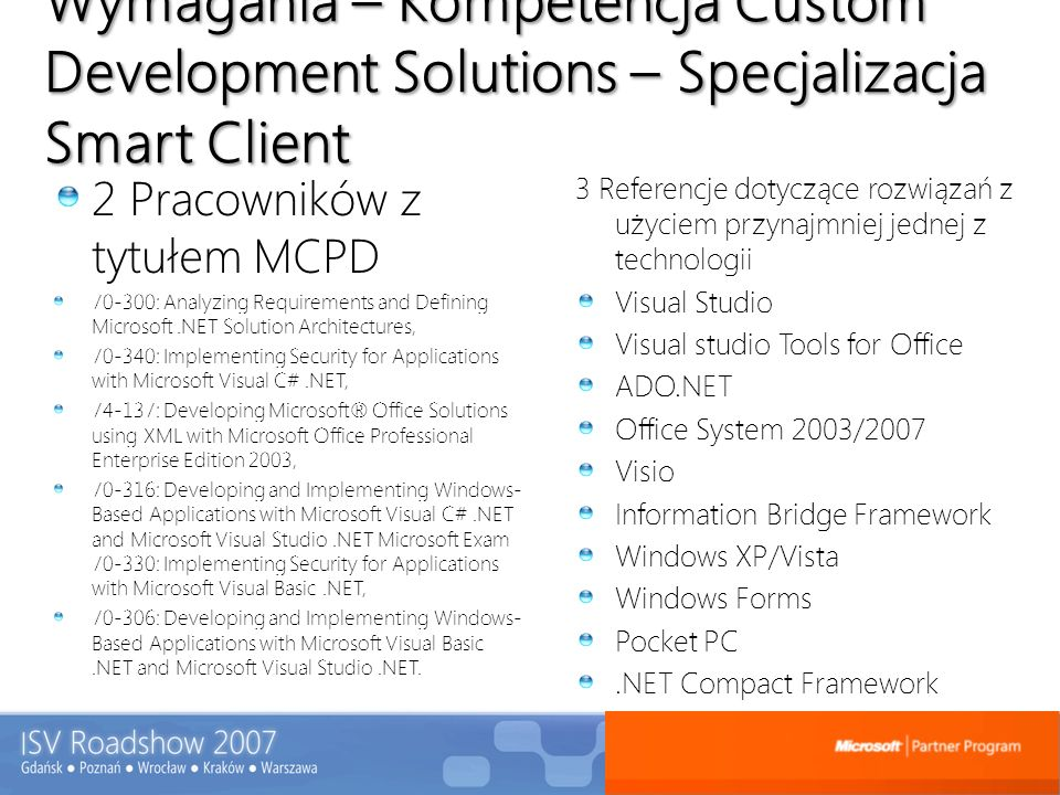 Wymagania – Kompetencja Custom Development Solutions – Specjalizacja Smart Client 2 Pracowników z tytułem MCPD 70-300: Analyzing Requirements and Defining Microsoft.NET Solution Architectures, 70-340: Implementing Security for Applications with Microsoft Visual C#.NET, 74-137: Developing Microsoft® Office Solutions using XML with Microsoft Office Professional Enterprise Edition 2003, 70-316: Developing and Implementing Windows- Based Applications with Microsoft Visual C#.NET and Microsoft Visual Studio.NET Microsoft Exam 70-330: Implementing Security for Applications with Microsoft Visual Basic.NET, 70-306: Developing and Implementing Windows- Based Applications with Microsoft Visual Basic.NET and Microsoft Visual Studio.NET.