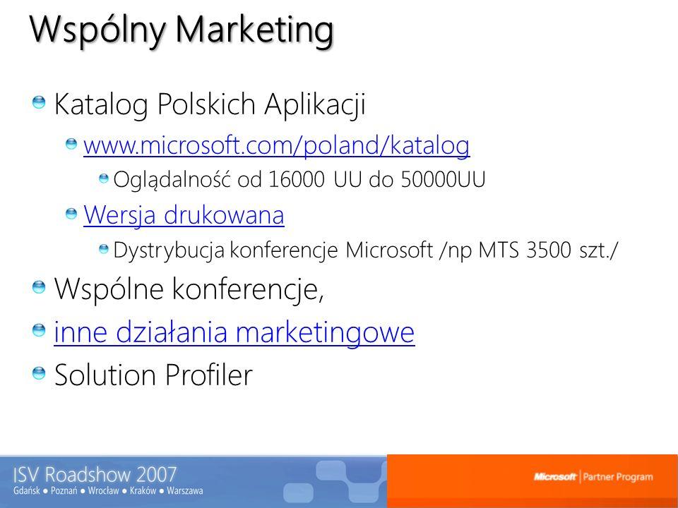 Wspólny Marketing Katalog Polskich Aplikacji www.microsoft.com/poland/katalog Oglądalność od 16000 UU do 50000UU Wersja drukowana Dystrybucja konferen