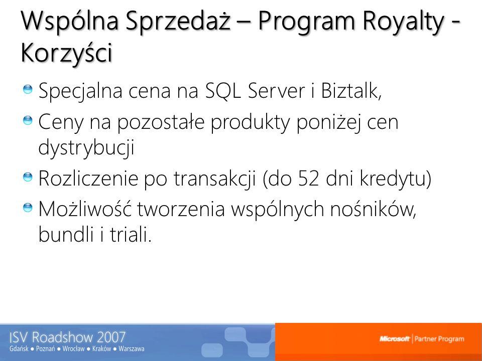 Wspólna Sprzedaż – Program Royalty - Korzyści Specjalna cena na SQL Server i Biztalk, Ceny na pozostałe produkty poniżej cen dystrybucji Rozliczenie p