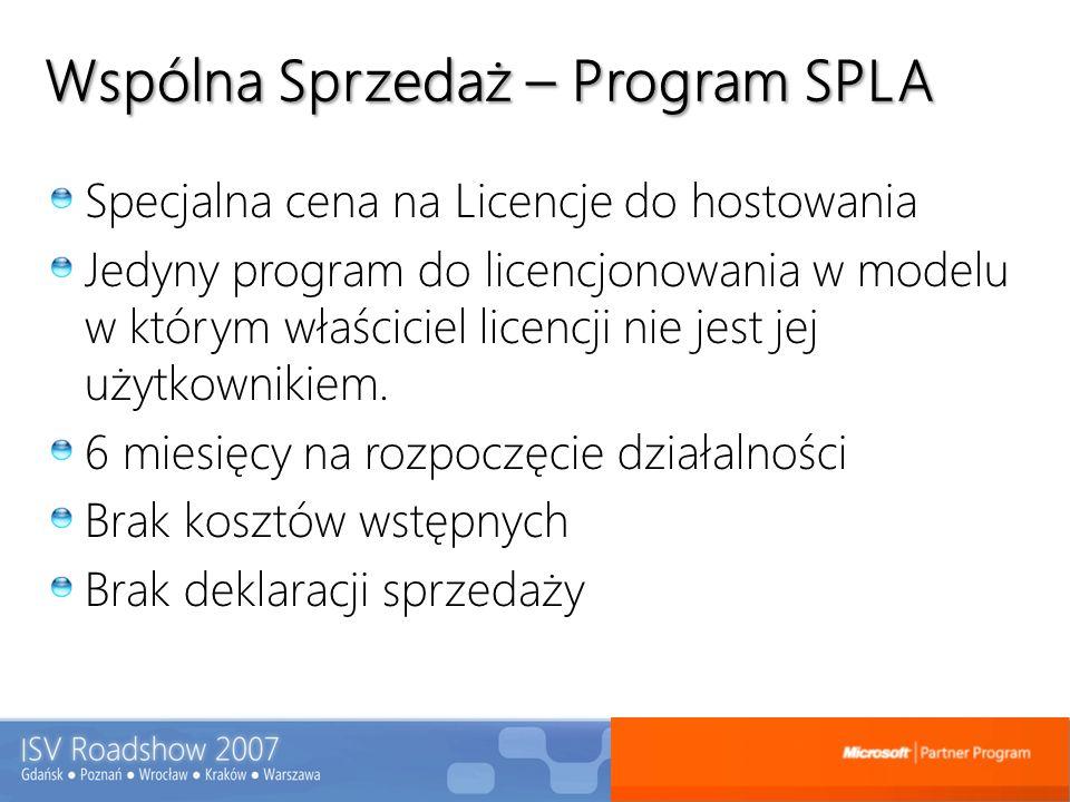 Wspólna Sprzedaż – Program SPLA Specjalna cena na Licencje do hostowania Jedyny program do licencjonowania w modelu w którym właściciel licencji nie j