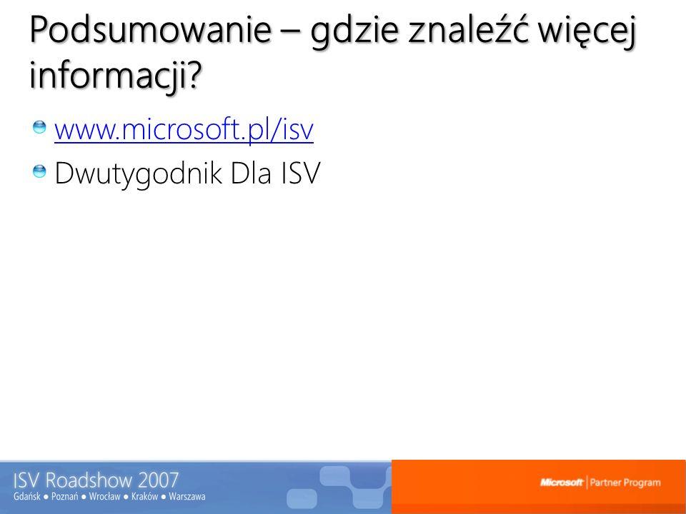 Podsumowanie – gdzie znaleźć więcej informacji? www.microsoft.pl/isv Dwutygodnik Dla ISV