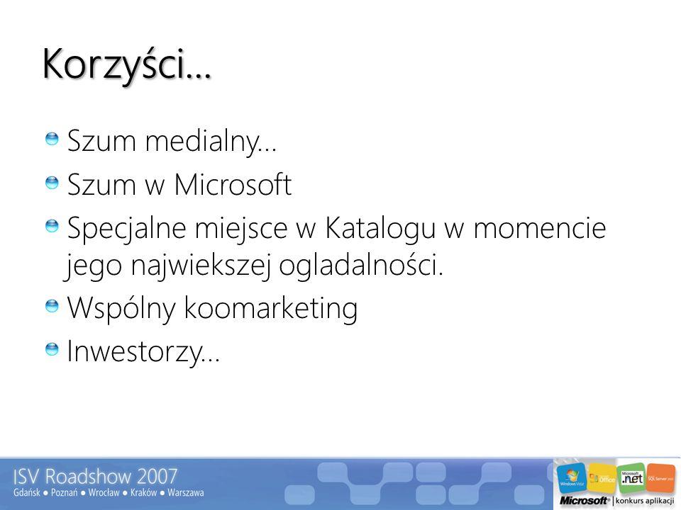 Korzyści... Szum medialny... Szum w Microsoft Specjalne miejsce w Katalogu w momencie jego najwiekszej ogladalności. Wspólny koomarketing Inwestorzy..