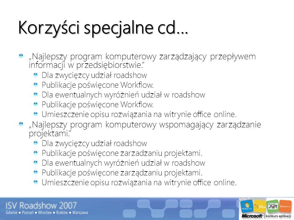 Korzyści specjalne cd... Najlepszy program komputerowy zarządzający przepływem informacji w przedsiębiorstwie. Dla zwycięzcy udział roadshow Publikacj