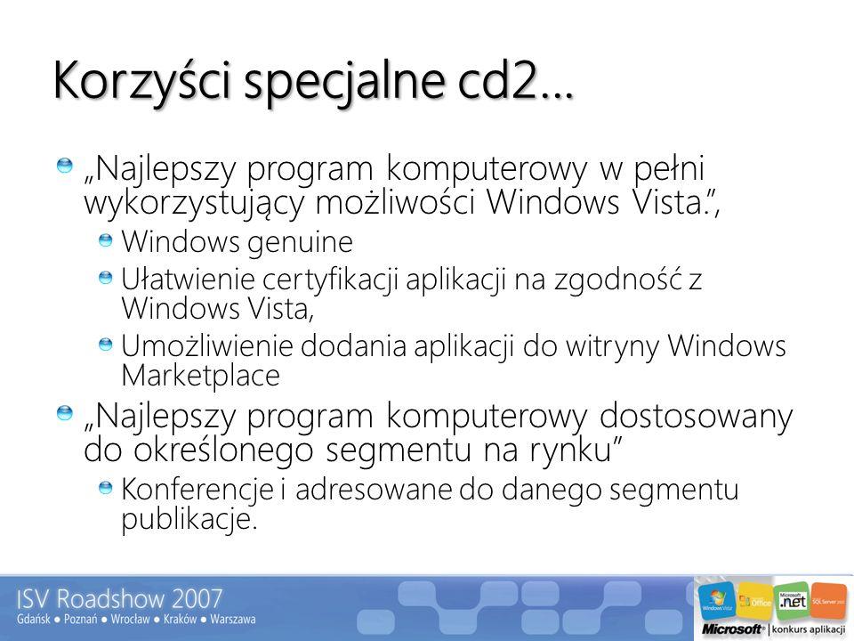 Korzyści specjalne cd2... Najlepszy program komputerowy w pełni wykorzystujący możliwości Windows Vista., Windows genuine Ułatwienie certyfikacji apli