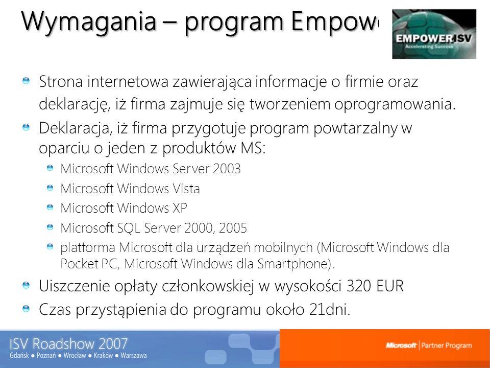 Wymagania – program Empower Strona internetowa zawierająca informacje o firmie oraz deklarację, iż firma zajmuje się tworzeniem oprogramowania. Deklar