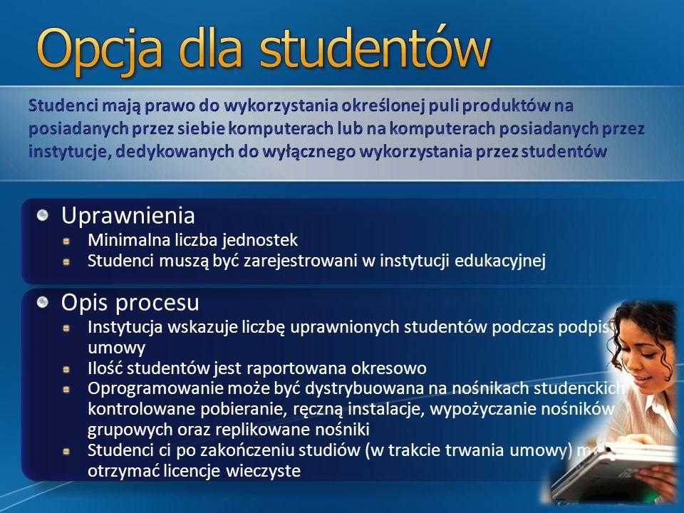 Uprawnienia Minimalna liczba jednostek Studenci muszą być zarejestrowani w instytucji edukacyjnej Opis procesu Instytucja wskazuje liczbę uprawnionych studentów podczas podpisania umowy Ilość studentów jest raportowana okresowo Oprogramowanie może być dystrybuowana na nośnikach studenckich, kontrolowane pobieranie, ręczną instalacje, wypożyczanie nośników grupowych oraz replikowane nośniki Studenci ci po zakończeniu studiów (w trakcie trwania umowy) mogą otrzymać licencje wieczyste