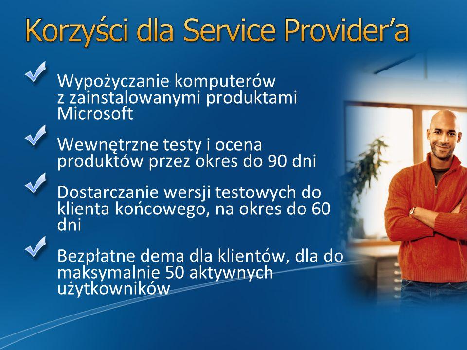 Wypożyczanie komputerów z zainstalowanymi produktami Microsoft Wewnętrzne testy i ocena produktów przez okres do 90 dni Dostarczanie wersji testowych do klienta końcowego, na okres do 60 dni Bezpłatne dema dla klientów, dla do maksymalnie 50 aktywnych użytkowników