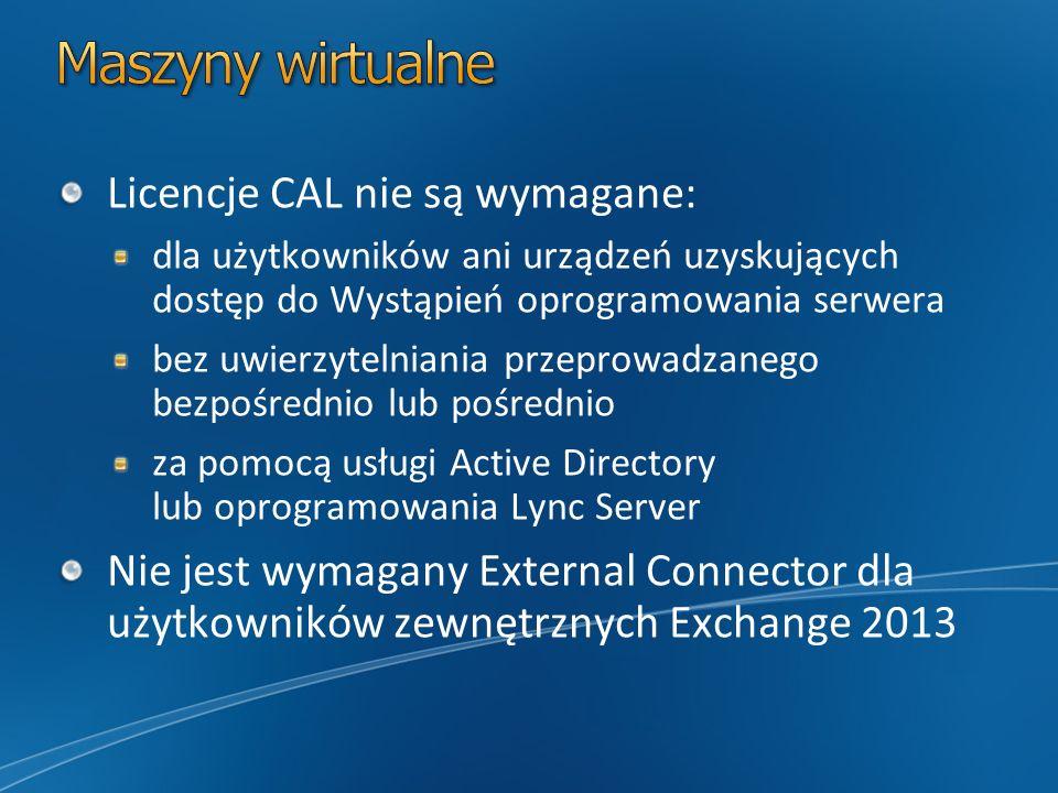 Licencje CAL nie są wymagane: dla użytkowników ani urządzeń uzyskujących dostęp do Wystąpień oprogramowania serwera bez uwierzytelniania przeprowadzan