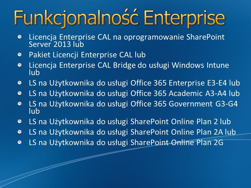Licencja Enterprise CAL na oprogramowanie SharePoint Server 2013 lub Pakiet Licencji Enterprise CAL lub Licencja Enterprise CAL Bridge do usługi Windo