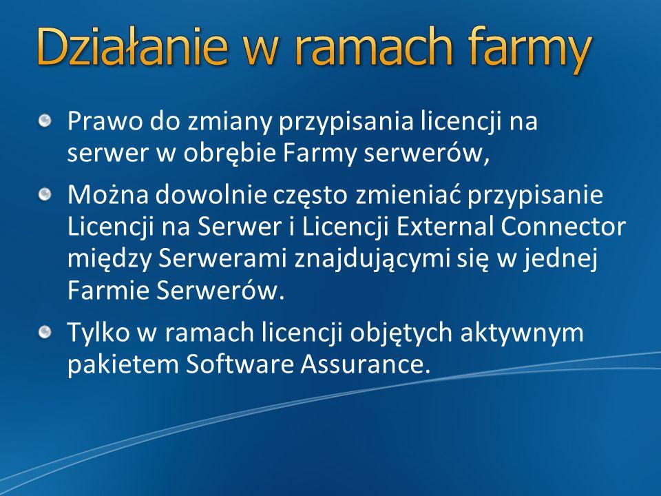 Prawo do zmiany przypisania licencji na serwer w obrębie Farmy serwerów, Można dowolnie często zmieniać przypisanie Licencji na Serwer i Licencji Exte