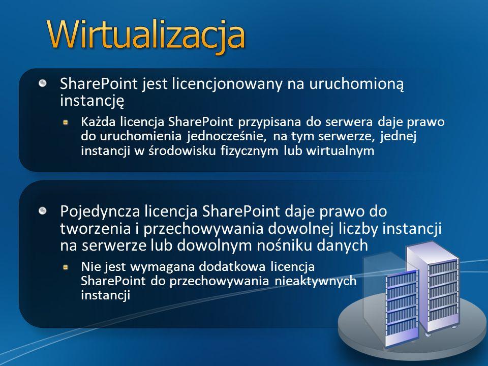 SharePoint jest licencjonowany na uruchomioną instancję Każda licencja SharePoint przypisana do serwera daje prawo do uruchomienia jednocześnie, na ty