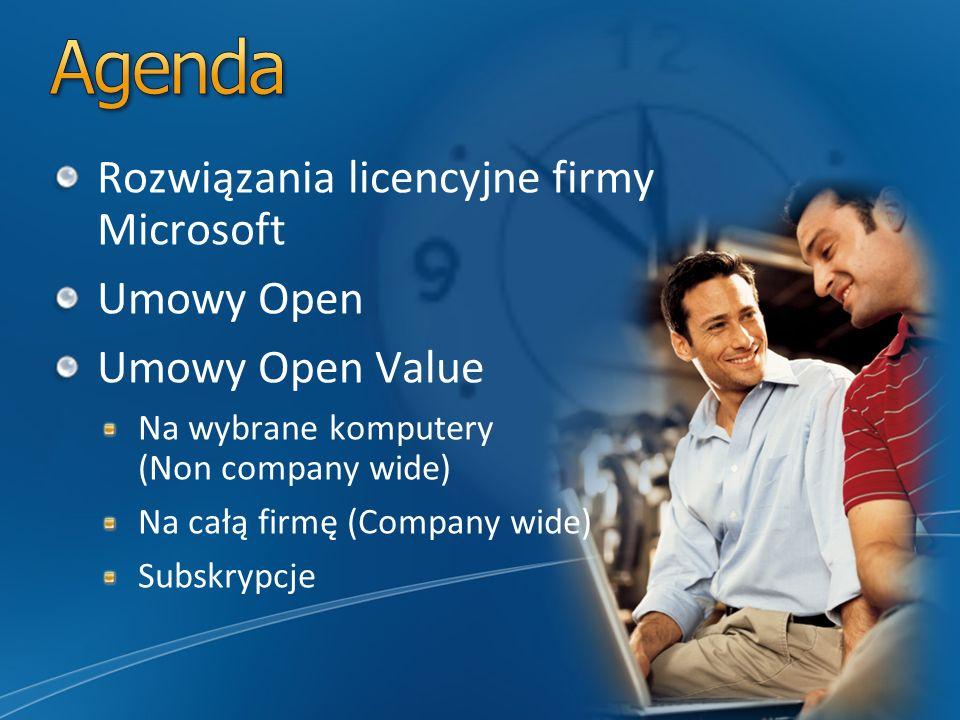 Rozwiązania licencyjne firmy Microsoft Umowy Open Umowy Open Value Na wybrane komputery (Non company wide) Na całą firmę (Company wide) Subskrypcje