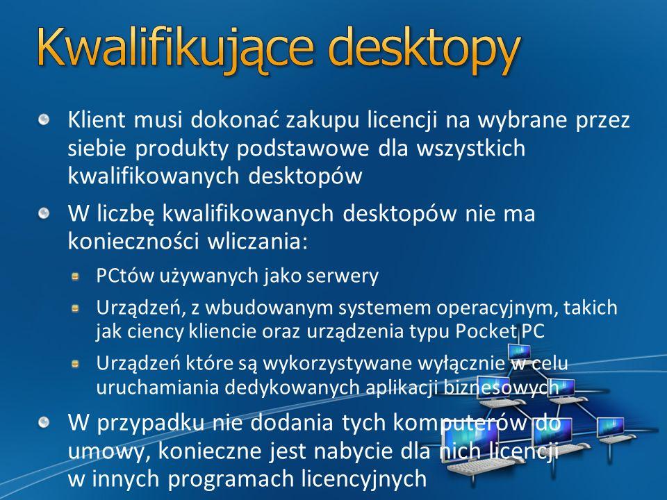 Klient musi dokonać zakupu licencji na wybrane przez siebie produkty podstawowe dla wszystkich kwalifikowanych desktopów W liczbę kwalifikowanych desktopów nie ma konieczności wliczania: PCtów używanych jako serwery Urządzeń, z wbudowanym systemem operacyjnym, takich jak ciency kliencie oraz urządzenia typu Pocket PC Urządzeń które są wykorzystywane wyłącznie w celu uruchamiania dedykowanych aplikacji biznesowych W przypadku nie dodania tych komputerów do umowy, konieczne jest nabycie dla nich licencji w innych programach licencyjnych