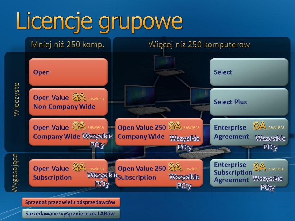 Kliencki system operacyjny Aplikacje klienckie Serwerowy system operacyjny, aplikacje serwerowe i licencje dostępowe