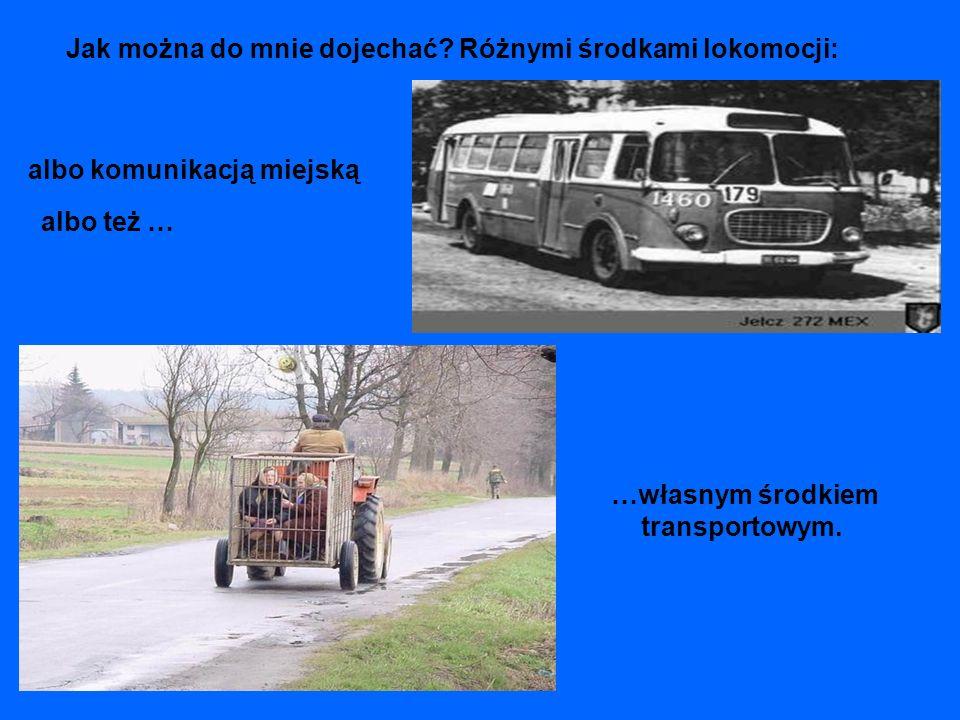 Jak można do mnie dojechać? Różnymi środkami lokomocji: albo komunikacją miejską …własnym środkiem transportowym. albo też …