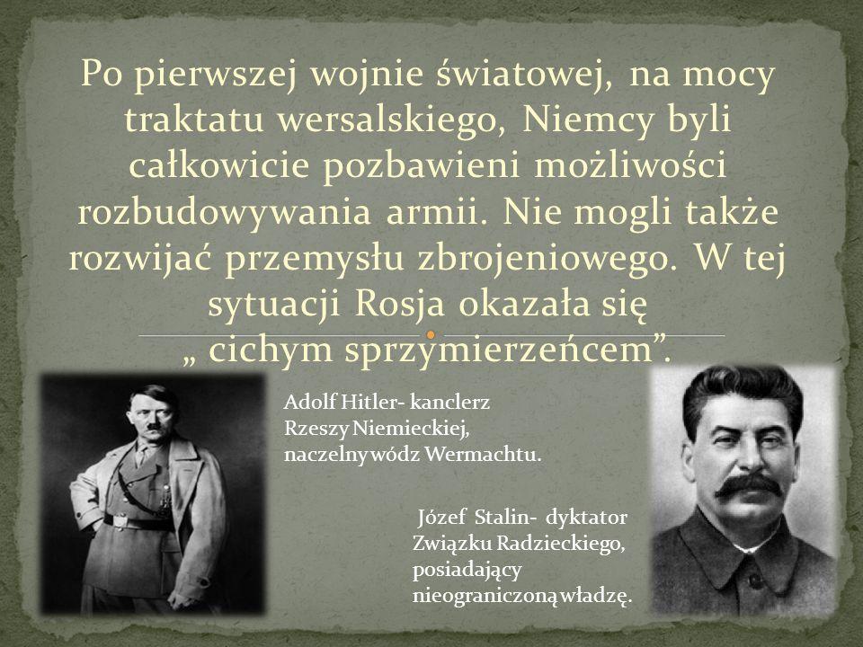Po I wojnie światowej Pakt Ribbentrop- Mołotow z sierpnia 1939 r., na podstawie którego dokonano rozbioru Polski przez Rzeszę Niemiecką i Związek Sowiecki.