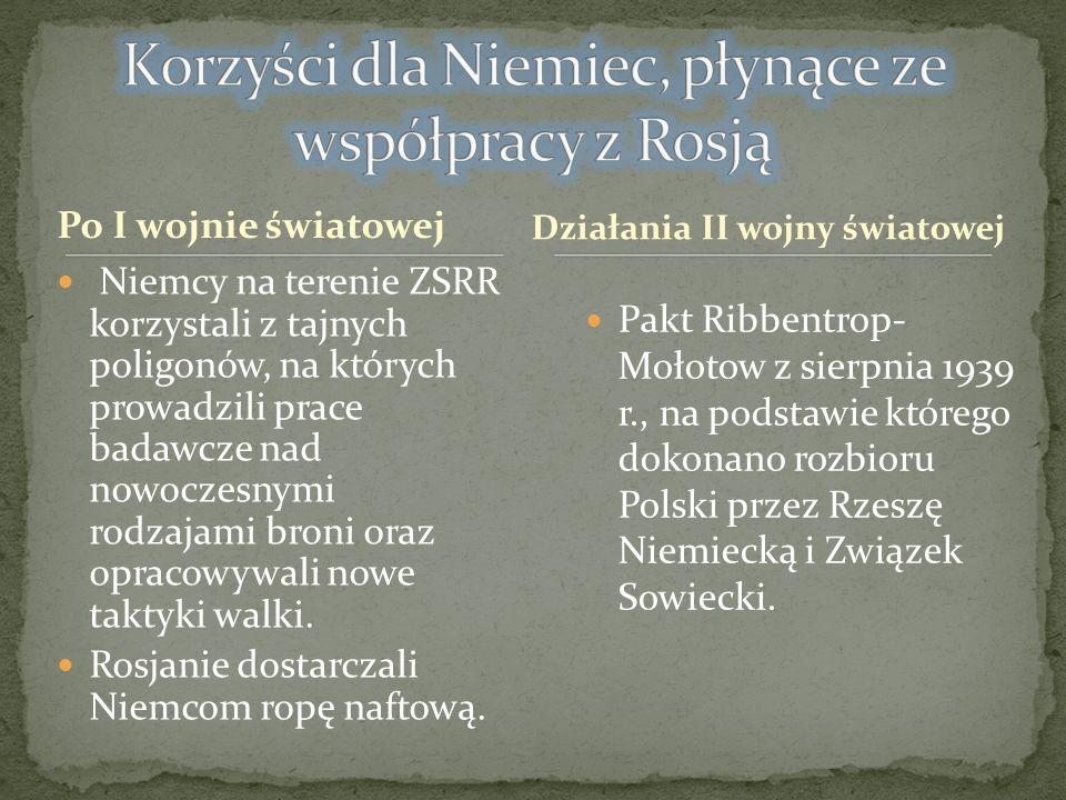 Po I wojnie światowej Pakt Ribbentrop- Mołotow z sierpnia 1939 r., na podstawie którego dokonano rozbioru Polski przez Rzeszę Niemiecką i Związek Sowi