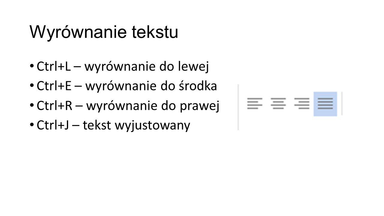 Wyrównanie tekstu Ctrl+L – wyrównanie do lewej Ctrl+E – wyrównanie do środka Ctrl+R – wyrównanie do prawej Ctrl+J – tekst wyjustowany