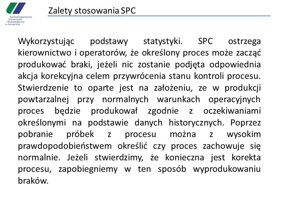 Zalety stosowania SPC Wykorzystując podstawy statystyki. SPC ostrzega kierownictwo i operatorów, że określony proces może zacząć produkować braki, jeż