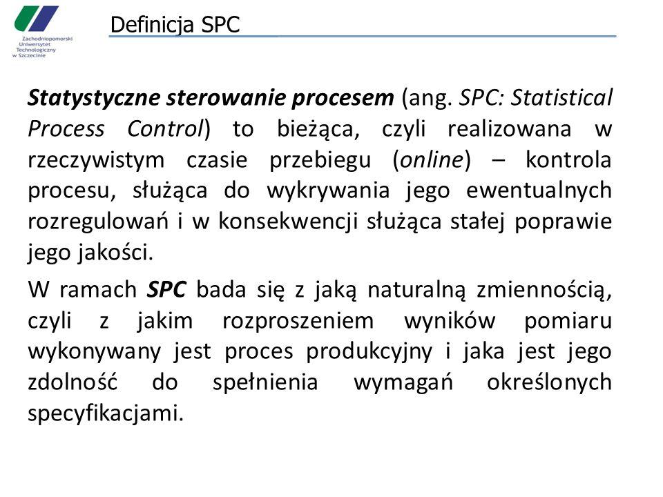 Definicja SPC Statystyczne sterowanie procesem (ang. SPC: Statistical Process Control) to bieżąca, czyli realizowana w rzeczywistym czasie przebiegu (