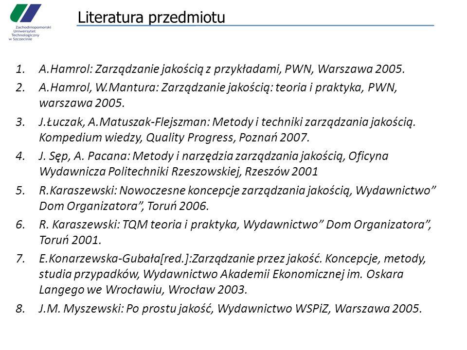 Literatura przedmiotu 1.A.Hamrol: Zarządzanie jakością z przykładami, PWN, Warszawa 2005. 2.A.Hamrol, W.Mantura: Zarządzanie jakością: teoria i prakty