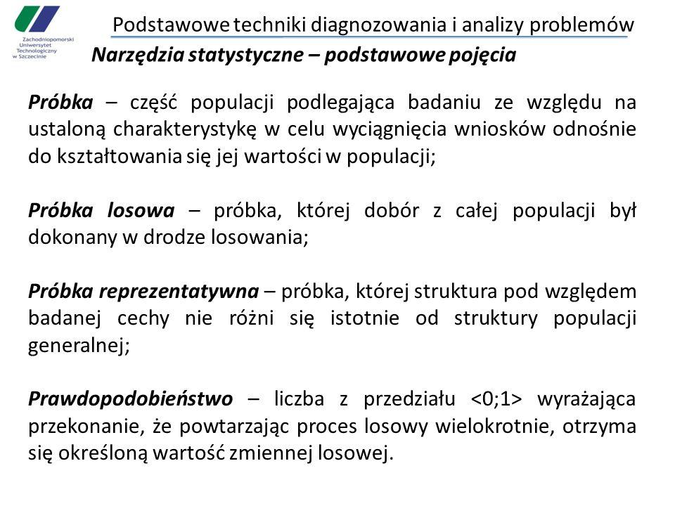 Podstawowe techniki diagnozowania i analizy problemów Narzędzia statystyczne – podstawowe pojęcia Próbka – część populacji podlegająca badaniu ze wzgl