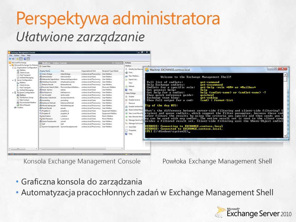 Ułatwione zarządzanie Konsola Exchange Management ConsolePowłoka Exchange Management Shell