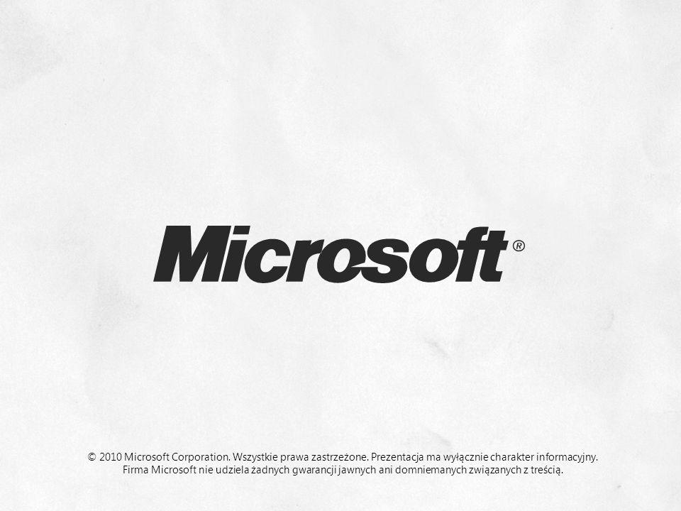 © 2010 Microsoft Corporation. Wszystkie prawa zastrzeżone. Prezentacja ma wyłącznie charakter informacyjny. Firma Microsoft nie udziela żadnych gwaran
