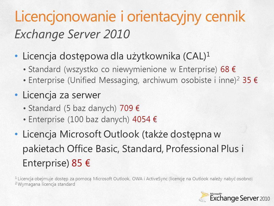 Exchange Server 2010 1 Licencja obejmuje dostęp za pomocą Microsoft Outlook, OWA i ActiveSync (licencję na Outlook należy nabyć osobno) 2 Wymagana lic