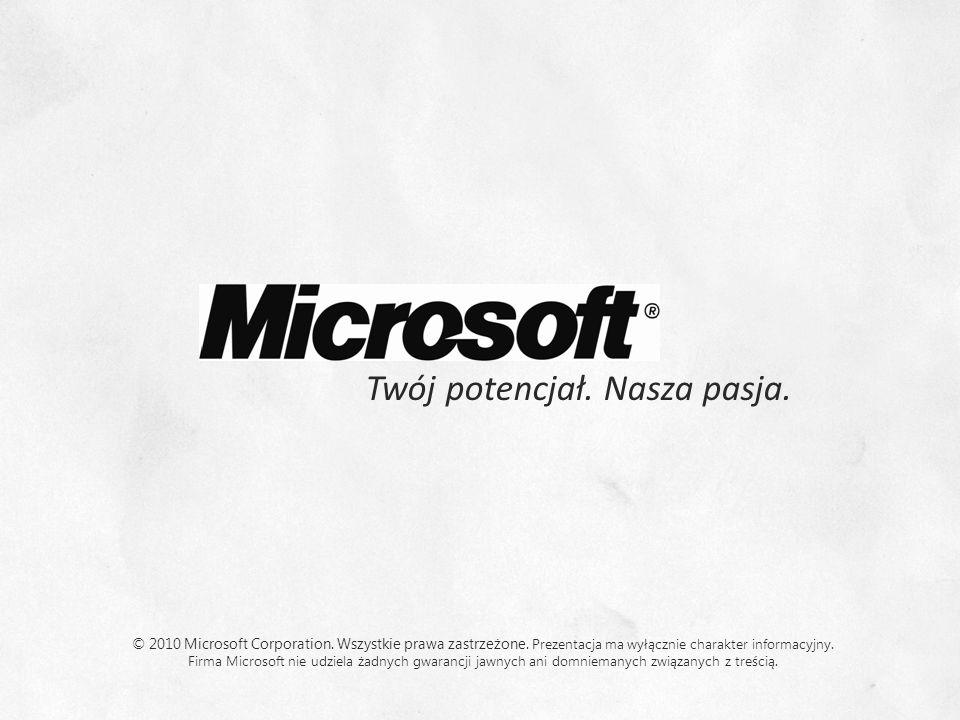 Twój potencjał. Nasza pasja. © 2010 Microsoft Corporation. Wszystkie prawa zastrzeżone. Prezentacja ma wyłącznie charakter informacyjny. Firma Microso
