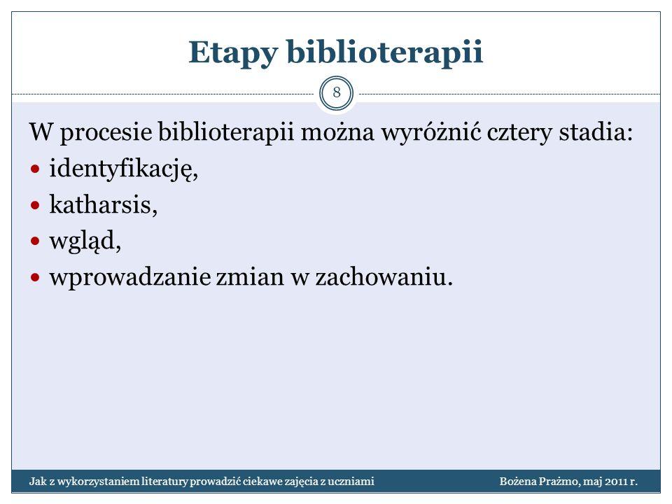 Etapy biblioterapii W procesie biblioterapii można wyróżnić cztery stadia: identyfikację, katharsis, wgląd, wprowadzanie zmian w zachowaniu. 8 Jak z w