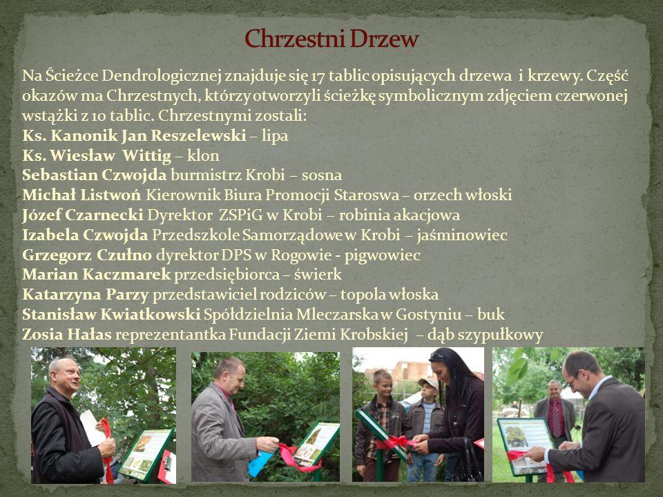Na Ścieżce Dendrologicznej znajduje się 17 tablic opisujących drzewa i krzewy. Część okazów ma Chrzestnych, którzy otworzyli ścieżkę symbolicznym zdję