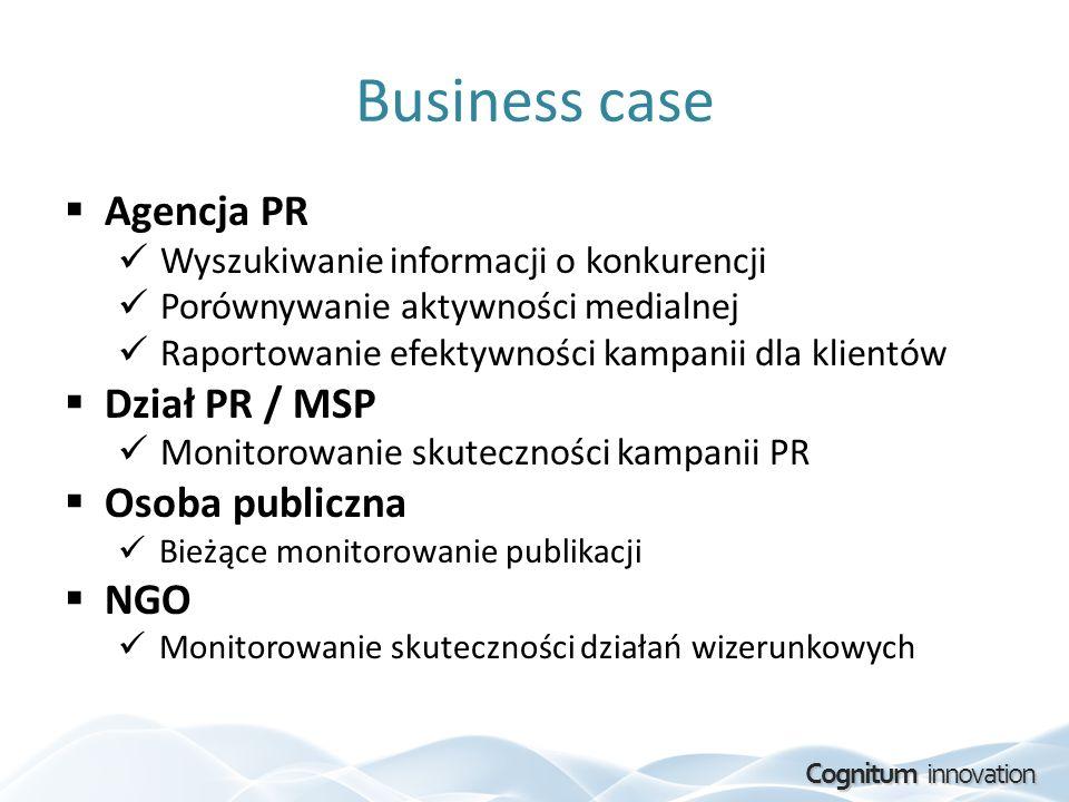 Cognitum innovation Business case Agencja PR Wyszukiwanie informacji o konkurencji Porównywanie aktywności medialnej Raportowanie efektywności kampani