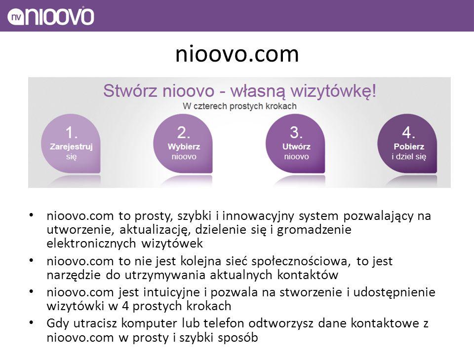 nioovo.com nioovo.com to prosty, szybki i innowacyjny system pozwalający na utworzenie, aktualizację, dzielenie się i gromadzenie elektronicznych wizytówek nioovo.com to nie jest kolejna sieć społecznościowa, to jest narzędzie do utrzymywania aktualnych kontaktów nioovo.com jest intuicyjne i pozwala na stworzenie i udostępnienie wizytówki w 4 prostych krokach Gdy utracisz komputer lub telefon odtworzysz dane kontaktowe z nioovo.com w prosty i szybki sposób