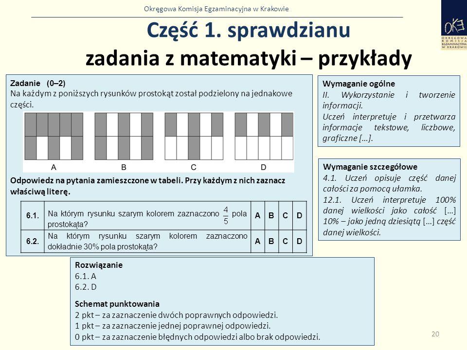 Okręgowa Komisja Egzaminacyjna w Krakowie Część 1. sprawdzianu zadania z matematyki – przykłady 20 Zadanie (0–2) Na każdym z poniższych rysunków prost