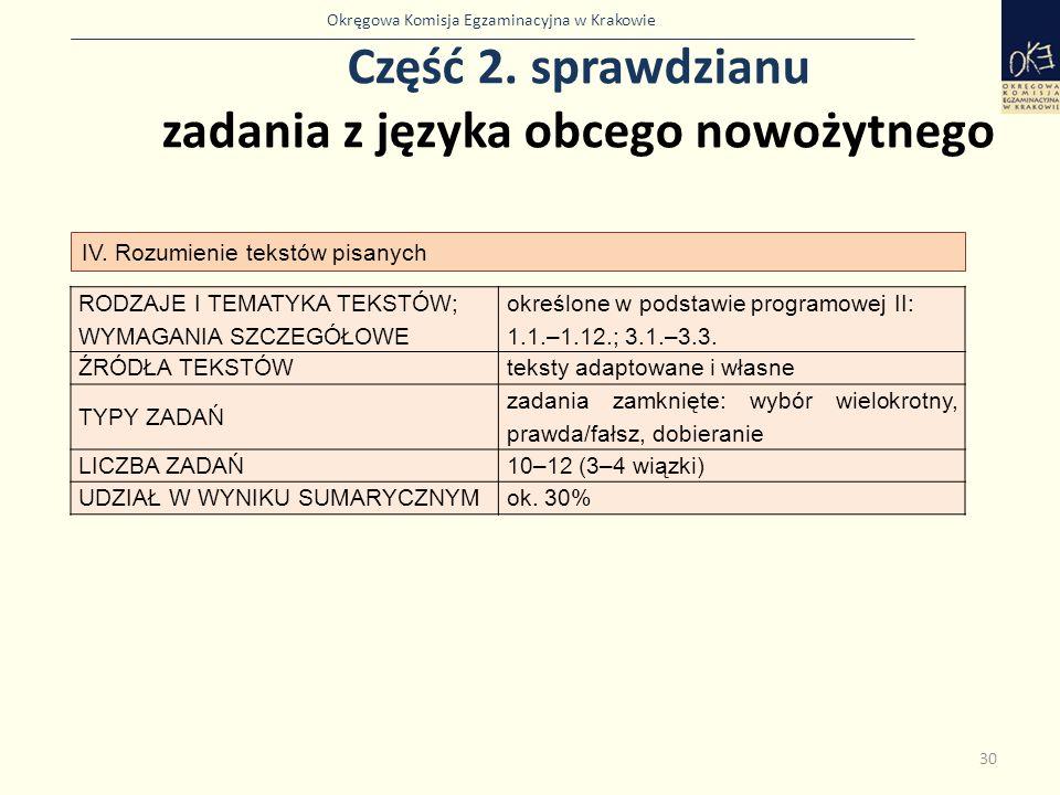 Okręgowa Komisja Egzaminacyjna w Krakowie Część 2. sprawdzianu zadania z języka obcego nowożytnego 30 IV. Rozumienie tekstów pisanych RODZAJE I TEMATY