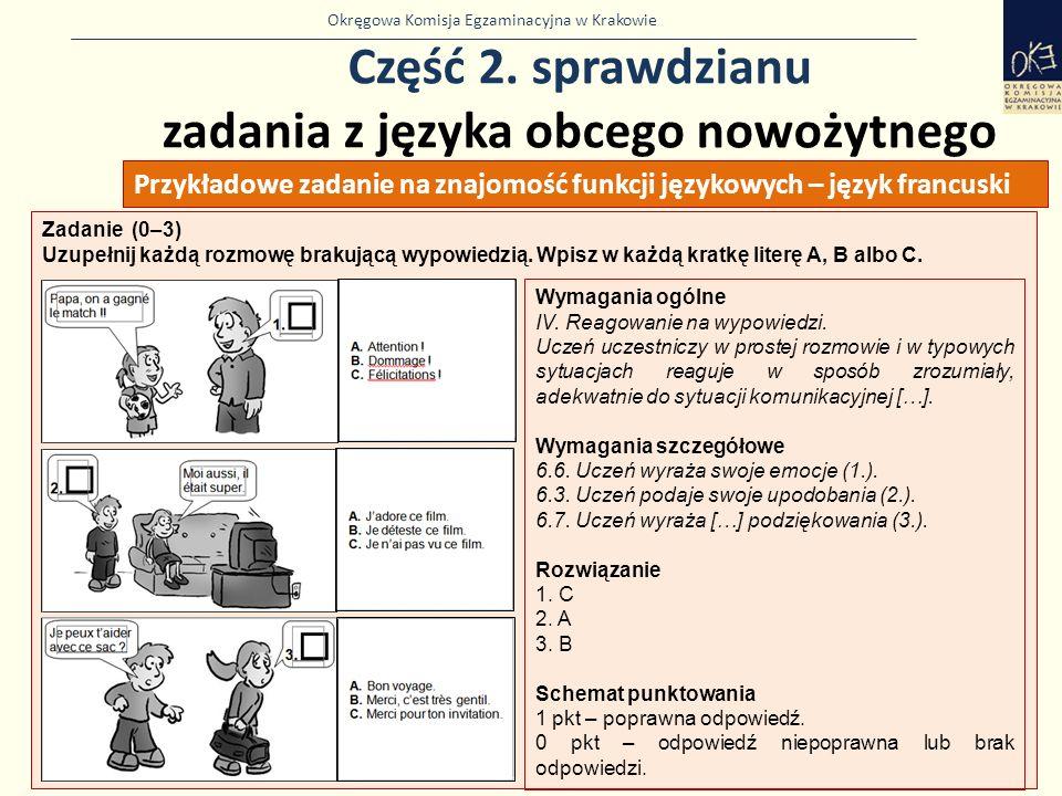 Okręgowa Komisja Egzaminacyjna w Krakowie Część 2. sprawdzianu zadania z języka obcego nowożytnego 33 Zadanie (0–3) Uzupełnij każdą rozmowę brakującą