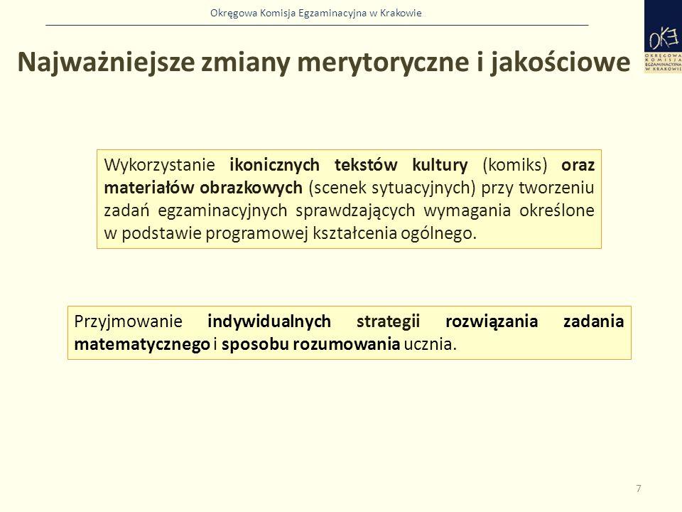 Okręgowa Komisja Egzaminacyjna w Krakowie Najważniejsze zmiany merytoryczne i jakościowe 7 Wykorzystanie ikonicznych tekstów kultury (komiks) oraz mat