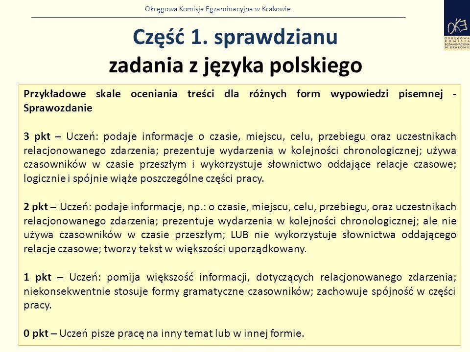 Okręgowa Komisja Egzaminacyjna w Krakowie Część 1. sprawdzianu zadania z języka polskiego 9 Przykładowe skale oceniania treści dla różnych form wypowi
