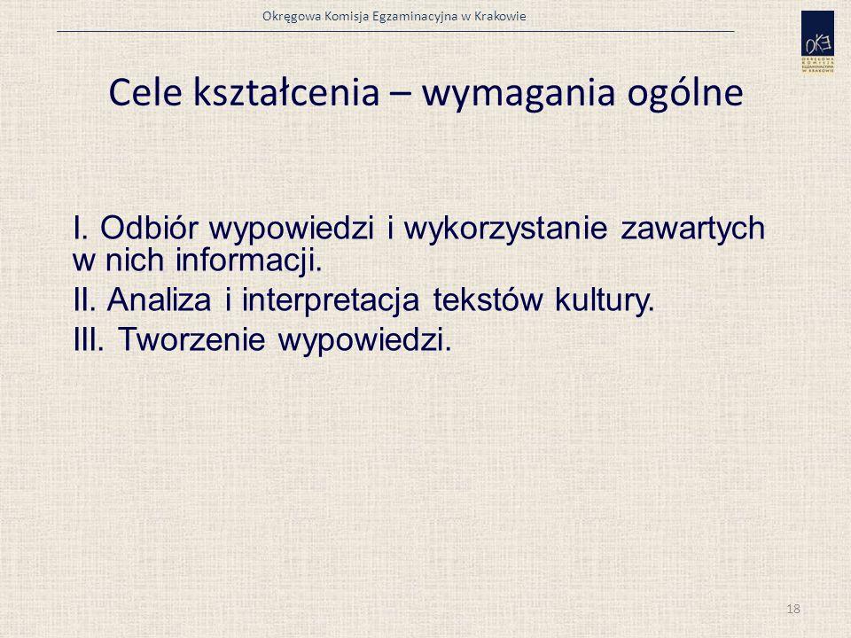 Okręgowa Komisja Egzaminacyjna w Krakowie Cele kształcenia – wymagania ogólne I.
