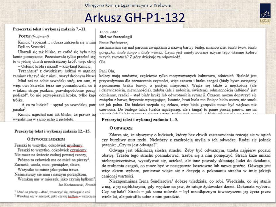 Okręgowa Komisja Egzaminacyjna w Krakowie Arkusz GH-P1-132